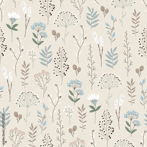 Obraz na plátně Floral seamless pattern with abstract flowers, branches, leaves, pine cones and plants, botanical vector illustration in vintage style