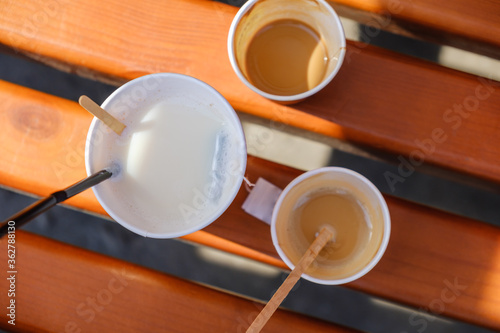 Sweet background pattern with coffee and tea #362788130