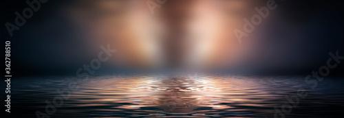 Empty futuristic dramatic fantasy scene. Night marine, underwater abstract background. Abstract dark landscape, street wet, smoke, smog. Neon blue light fluid element. 3D illustration