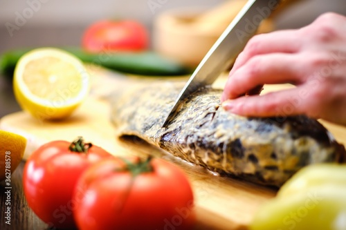 fish carp fresh food cooking. meat. #362788578