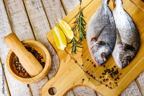 Fish seafood dorado, raw food, meal bream. #362788718