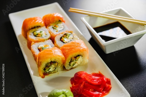 Japanese sushi seafood roll restaurant, background. #362788926