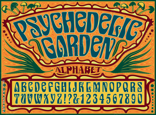 A Psychedelic 1960s Style Hippie Alphabet with an Ornate Background Design Incor Wallpaper Mural