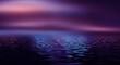 Leinwanddruck Bild - Light neon effect, energy waves on a dark abstract background. Laser colorful neon show. Reflection of light in the water. Dark sky, ocean. Smoke, fog. 3d illustration