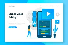 Mobile Video Editing Landing Page Template. Illustration For Websites, Landing Pages, Mobile Applications, Posters And Banners.