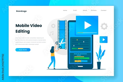 Canvas Print Mobile video editing landing page template