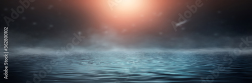 Fototapeta Empty futuristic dramatic fantasy scene. Night marine, underwater abstract background. Abstract dark landscape, street wet, smoke, smog. Neon blue light fluid element. 3D illustration obraz