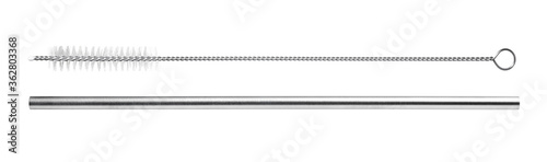 Obraz stainless steel drinking straw with cleaning brush isolated on white background - fototapety do salonu