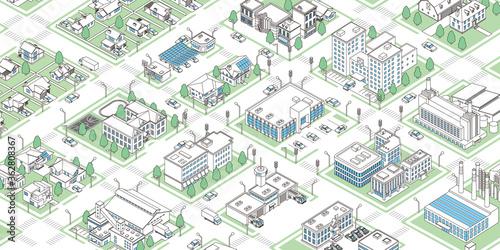 Isometric vector data town illustration Fototapeta