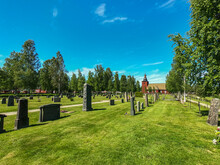 Old Cemetery With Green Trees ...