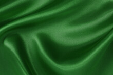 Dark Green Fabric Cloth Texture For Background And Design Art Work, Beautiful Crumpled Pattern Of Silk Or Linen.