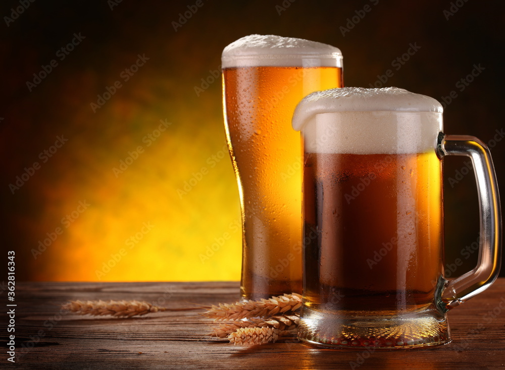 Close-up Of Beer Mugs On Table
