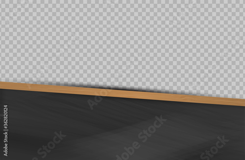 School background with wooden frame blackboard and transparent space for custom photo. Vector illustration.