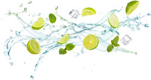 Water Splash With Mint Leaves, Slices Of Lime And Ice Cubes Isolated On White Background, Concept Of Summer Refreshments