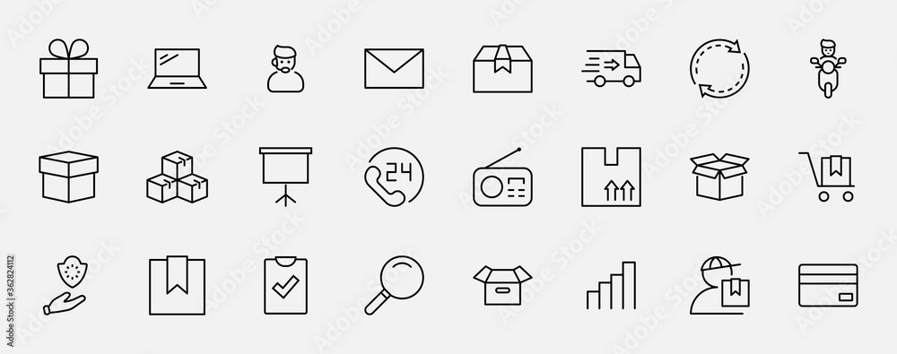 Fototapeta Set of Shipping vector line icon. It contains symbols to box, home and more. Editable Stroke. 32x32 pixels.