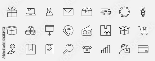 Photo Set of Shipping vector line icon