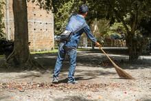 Man Sweeps Broom Leaves In The...