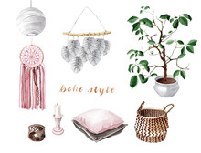 Watercolor Boho Interior Eleme...