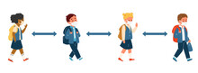Group Of Kids Different Race In School Uniform In Protective Masks With Backpacks Walking Keeping Social Distance. Primary School Pupils During Coronavirus Pandemic. Flat Vector Illustration.