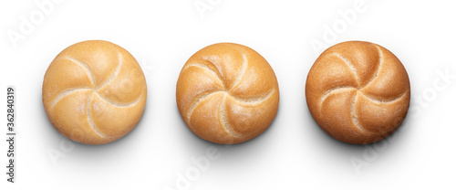 Photo Perfect buns on white with clipping path