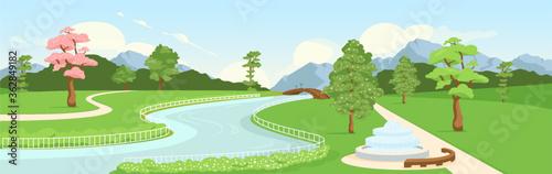 Fototapeta Botanical garden flat color vector illustration obraz