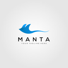 Blue Manta Ray Logo Vector Illustration Design