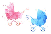 Watercolor Baby Prams, Pink An...