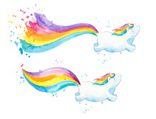 Baby Unicorns With Colorful Ta...