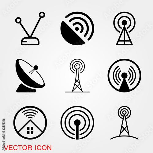 Valokuvatapetti Antenna icon. Radar satellite dish - Vector icon