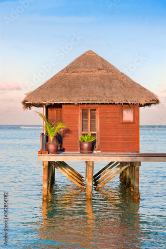 Fotografie, Tablou Small cabin on stilts in the Maldives.