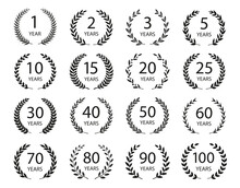 Set Of Anniversary Laurel Wreaths. Black And White Anniversary Symbols. 1, 2,3, 5, 10, 15, 20, 25, 30,40,50, 60, 70, 80,90,100 Years. Template For Award And Congratulation Design. Vector Illustration.