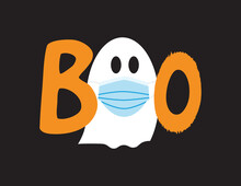 Boo Icon With White Ghost Wearing Blue Surgical Mask And Orange Letters On Black Background