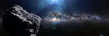 Asteroid In Deep Space Lit By ...
