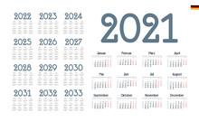 German Calendar For 2021-2033. Week Starts On Monday