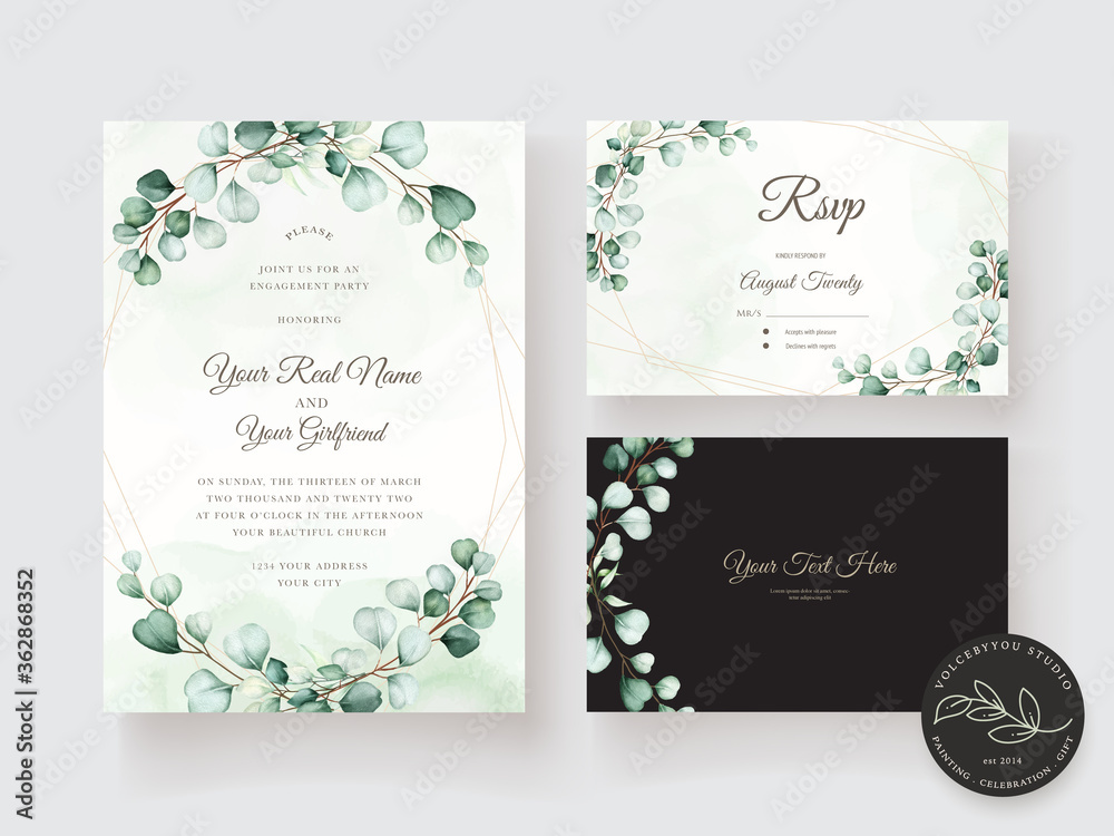 Fototapeta watercolor eucalyptus invitation card set