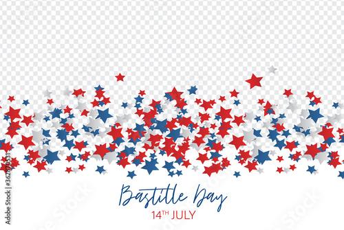 Fototapeta Bastille Day. July 14th France national holiday celebration banner or flyer overlay decor. Blue, white, and red stars. Vector illustration with lettering. obraz