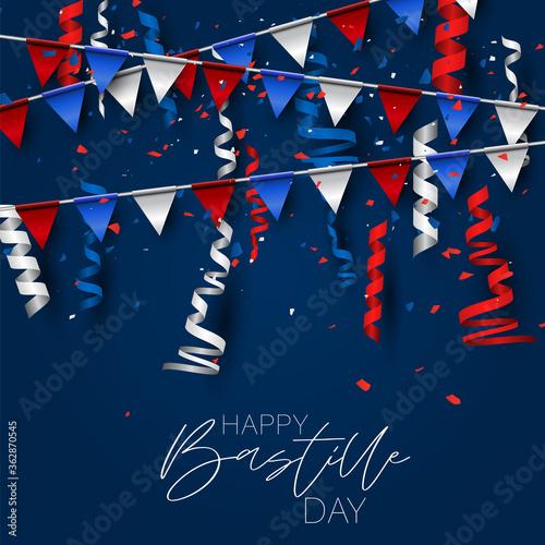 Fototapeta Bastille Day. July 14th France national holiday celebration banner or flyer decor. Blue, white, and red french flag bunting. Vector illustration with lettering. obraz