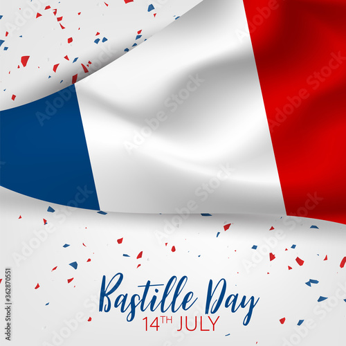 Fototapeta Bastille Day. July 14th French national holiday celebration banner or flyer decor. Blue, white, and red tricolor waving  flag of France. Vector illustration with lettering. obraz
