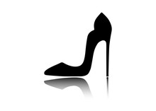 Woman Shoes With High Heels. Graphic Design. Image For Store, Company, Business Logo. Vector Sign Isolated On White Background