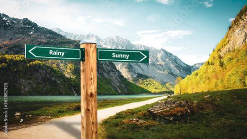 Fototapeta Street Sign Sunny versus Rainy