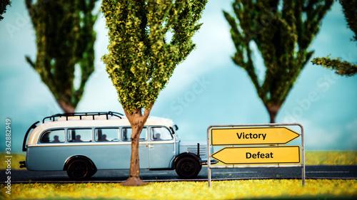 Obraz na plátně Street Sign Victory versus Defeat