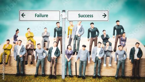 Fotografie, Obraz Street Sign to Success versus Failure
