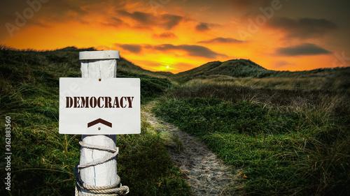 Obraz na plátně Street Sign to Democracy