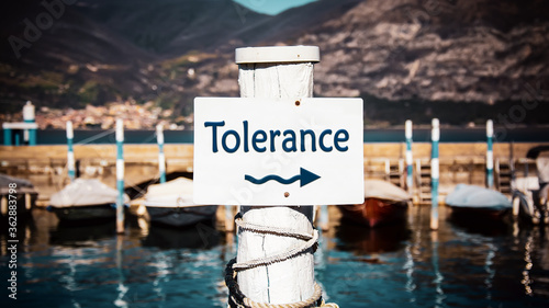 Fototapeta Street Sign to Tolerance