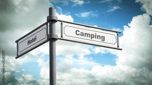Fototapeta Street Sign to Camping versus Hotel