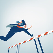 Concept Of Overcoming Obstacles. Businessman Jumps Over Obstacle With Project In Hand. Business Vector Illustration