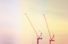 Low Angle View Of Cranes Again...