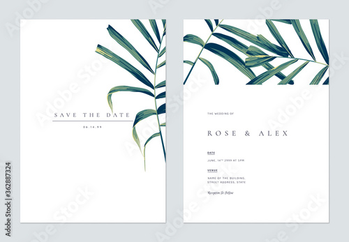 Obraz Minimalist botanical wedding invitation card template design, hand drawn palm leaves on white - fototapety do salonu