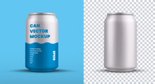 Mockup Of A Small Tin Can With An Energy Drink With A Blue Pattern, For Design Presentation, Vector Silver Shiny Shiny Water Bottle.