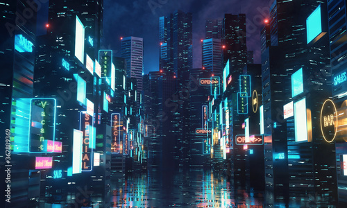 3D Rendering of billboards and advertisement signs at modern buildings in capital city with light reflection from puddles on street Fototapet